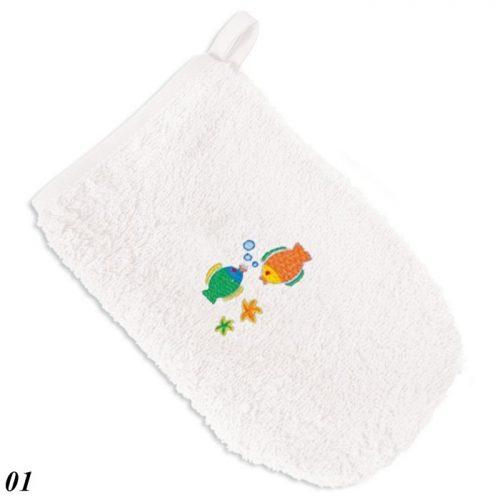 Łapka z Frotte z haftem, myjka dla niemowląt i dzieci Baby Matex biała