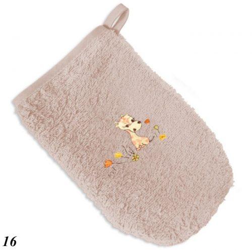 Łapka z Frotte z haftem, myjka dla niemowląt i dzieci Baby Matex bez ciemny