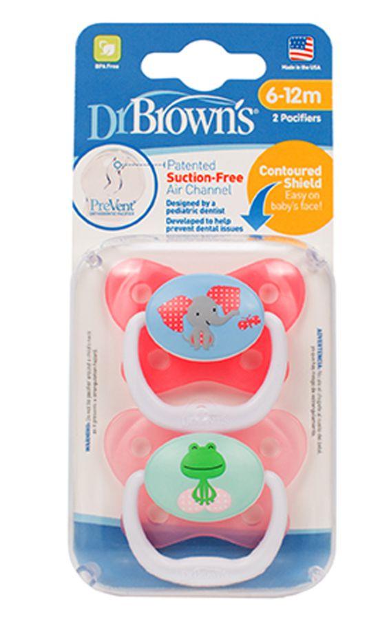 Smoczek ortodontyczny Prevent Motyl 6-12 Miesięcy Dr Browns Różowy 2 szt
