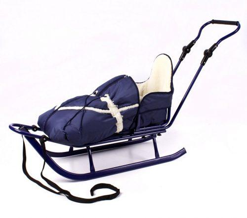 Sanki z wysokim oparciem Piccolino szeroka płoza + regulowany pchacz + śpiworek z owczą wełną
