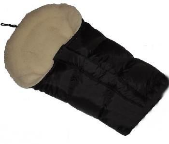 Śpiworek do wózka z owczą wełną, przedłużany 90-110 cm kolor  Czarny