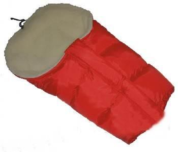Śpiworek do wózka z owczą wełną, przedłużany 90-110 cm kolor  Czerwony