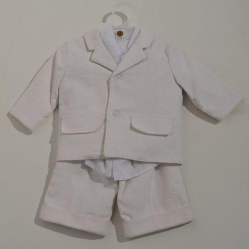 Komplet do chrztu garnitur sztruksowy + spodnie + koszula 56 Ecru