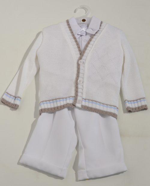 Komplet do chrztu sweterek + koszula + spodnie 80