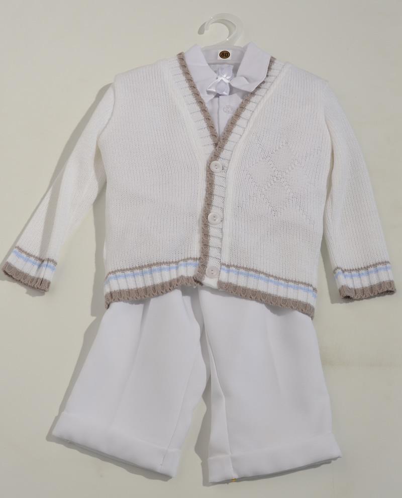 Komplet do chrztu sweterek + koszula + spodnie 86