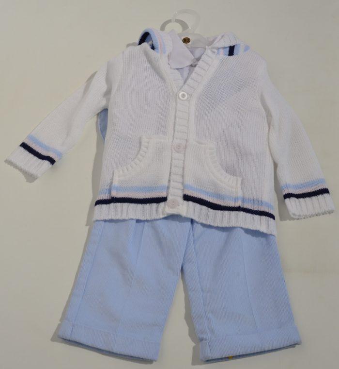 Komplet do chrztu sweterek z koszula + spodnie sztruksowe 74