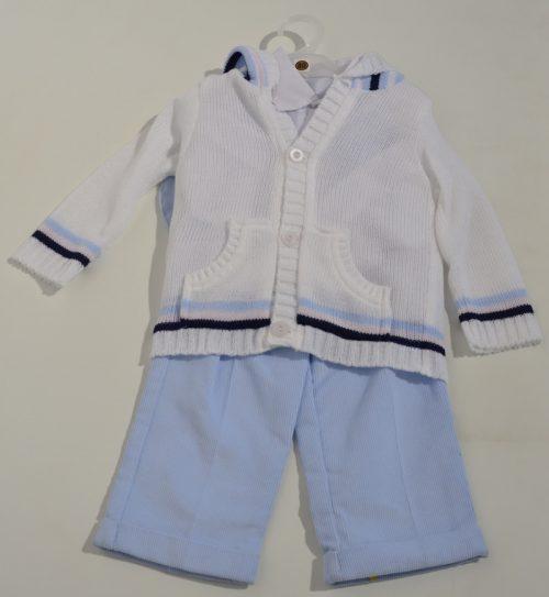 Komplet do chrztu sweterek z koszula + spodnie sztruksowe 86
