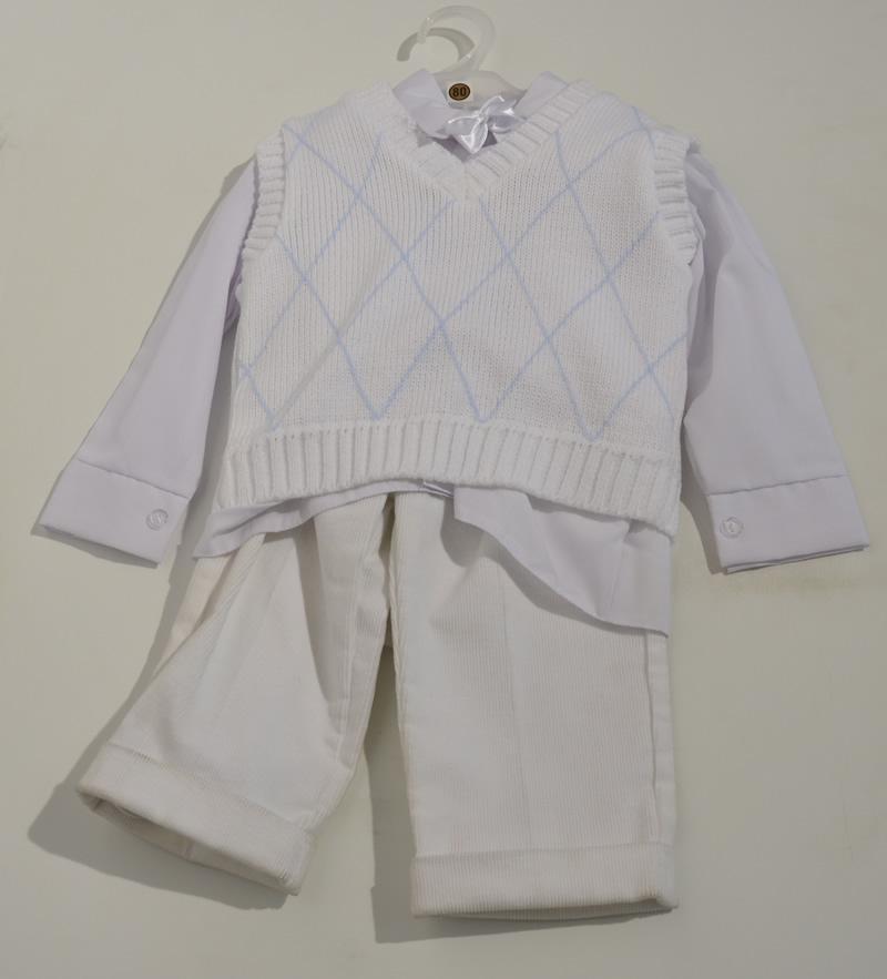 Komplet do chrztu kamizelka koszula + spodnie sztruksowe 80 Biały