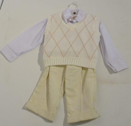Komplet do chrztu kamizelka koszula + spodnie sztruksowe 80 Kremowy