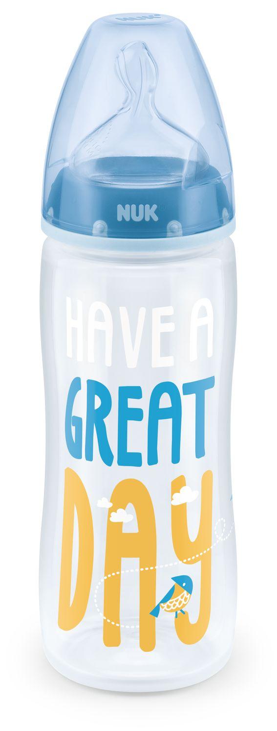 Butelka First Choise + 360 ml z tworzywa PP ze smoczkiem silokonowym rozmiar 6-18 mc , XL do kaszek Niebieski