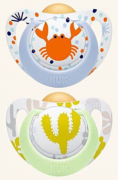 NUK Smoczek uspokajający lateksowy Genius Color 2szt. 6-18 krab i kaktus