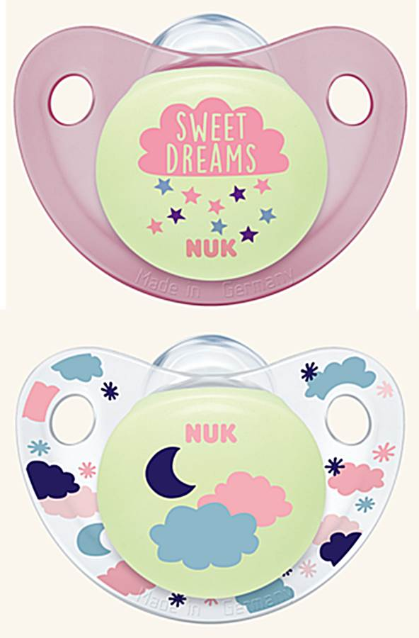 Nuk Trendline Night&Day 18-36 smoczek silikonowy 2 szt chmurka i sweet dreams