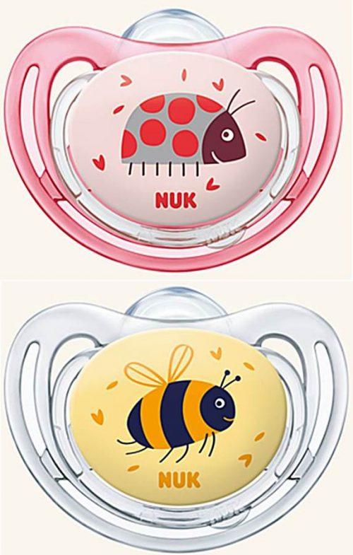 Nuk Freestyle silikonowy smoczek anatomiczny do uspokajania 18-36 msc biedronka i pszczoła