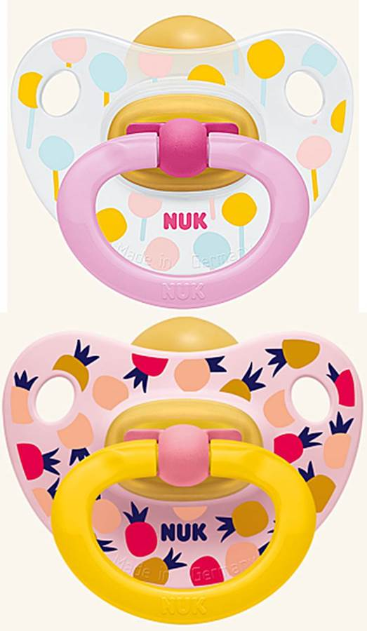 Nuk smoczek uspokajający lateksowy Happy Kids 2 szt 0-6 msc ananas i balon