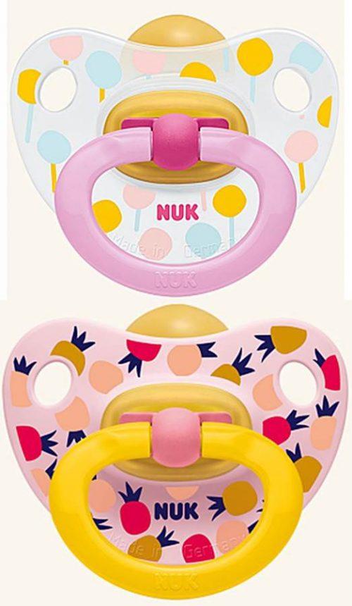 Nuk smoczek uspokajający lateksowy Happy Kids 2 szt 6-18 msc baloniki i ananasy
