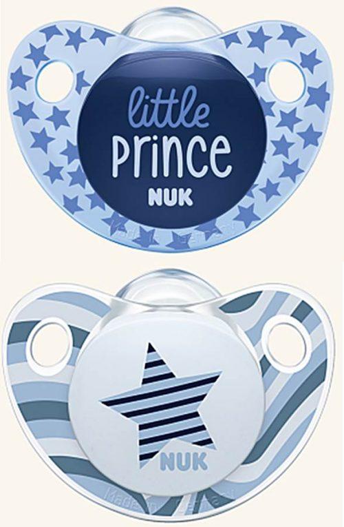 Smoczek uspokajajacy silikonowy Adore Nuk 18-36 miesięcy 2 szt gwiazdka niebieska i książe