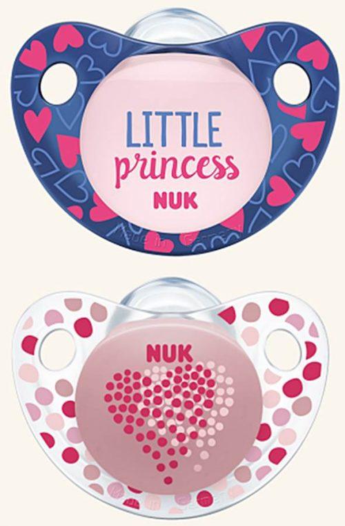 Smoczek uspokajajacy silikonowy Adore Nuk 18-36 miesięcy 2 szt serce różowe
