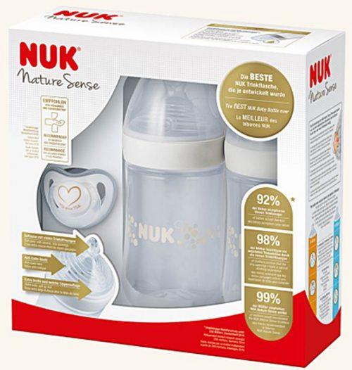 Zestaw Nature Sense Twin Set Białyi 2 butelki smoczek osłona Nuk