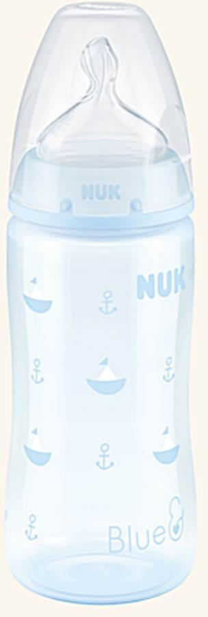 Butelka do karmienia Nuk Baby Blue 300 ml ze smoczkiem silikonowym 0-6 miesięcy 1M do mleka modyfikowanegołódka niebieska