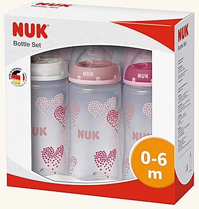 Zestaw 3 butelek First Choice + różowy Nuk 300ml różowy