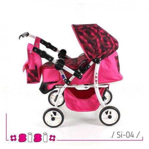 Głęboko-spacerowy wózek dla lalek z przekładaną rączką SISI kolor 01
