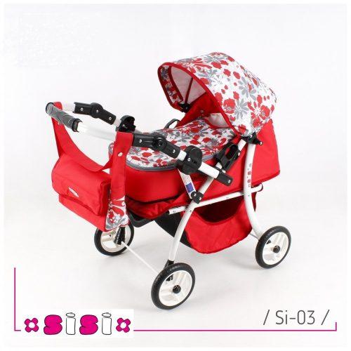 Głęboko-spacerowy wózek dla lalek z przekładaną rączką SISI kolor 03