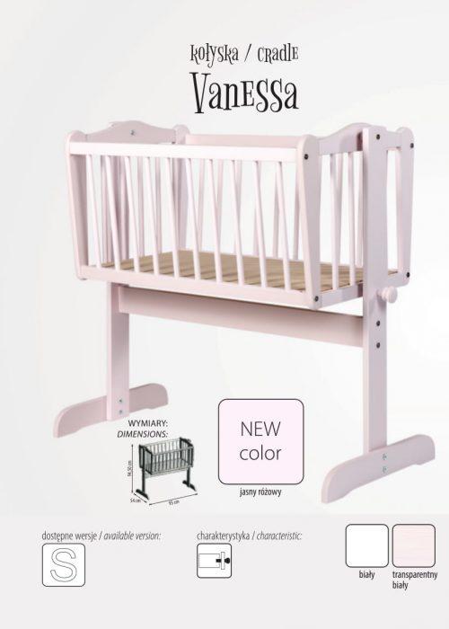 Vanessa kołyska dla noworodka, Drewex Biały Transparentny