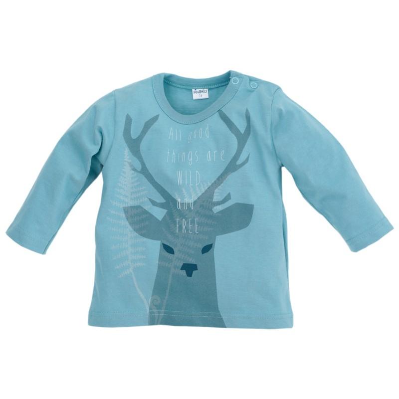 Śliczna bluzka dziecięca z długim rękawem z kolekcji Wild Boy Pinokio 122 Turkusowy