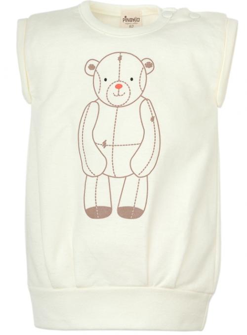 Pinokio Tunika z bawełny organicznej bez rękawów kolekcja Little Bear 74 Ecru