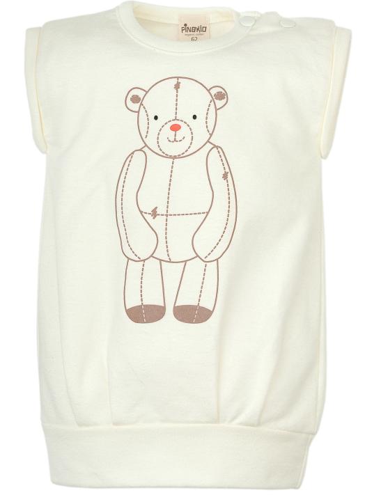 Pinokio Tunika z bawełny organicznej bez rękawów kolekcja Little Bear 68 Ecru