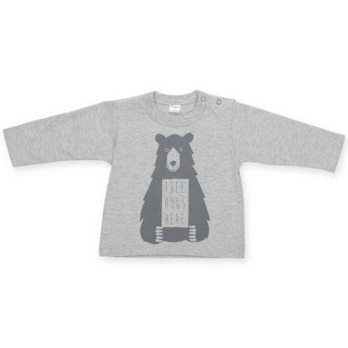 Bawełniana bluzka dziecięca z długim rękawem z nadrukiem Pinokio kolekcja Happy Kids 80 Szary