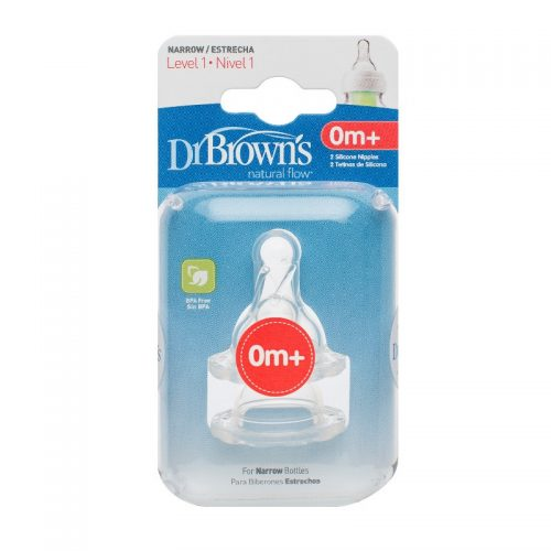 Silikonowy smoczek o wolnym przepływie do butelek Dr Browns 0-3m 2szt.