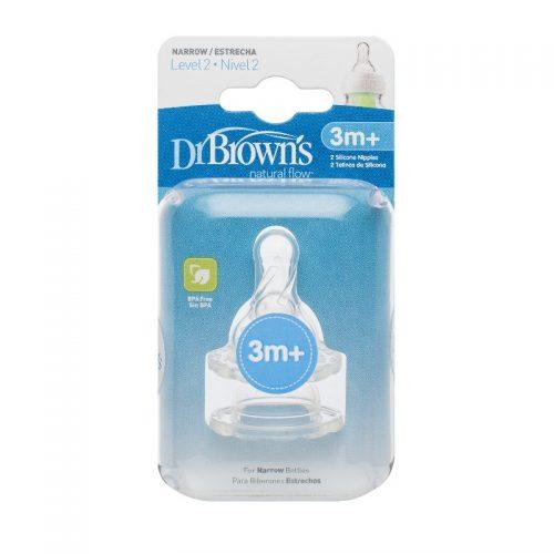 Smoczek silikonowy do butelek dla niemowląt 3-6m Dr Browns o średnim przepływie 2szt.