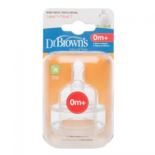 Smoczek silikonowy do butelek z szeroką szyjką Dr Browns - wolny przepływ 0-3m 2szt.