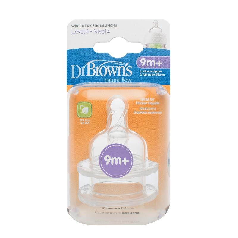 Silikonowy smoczek o średnim przepływie do butelek z szeroką szyjką Dr Browns 3-6m 2szt.