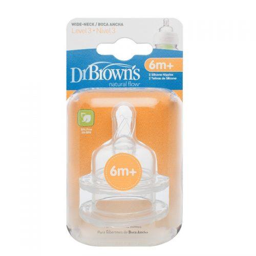Okrągłe smoczki silikonowe o szybkim przepływie do butelek Dr Browns z szeroką szyjką 6m+ 2szt.