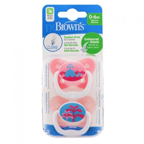 Dr Browns smoczek prevent motyl 0-6miesięcy różowy 2 szt