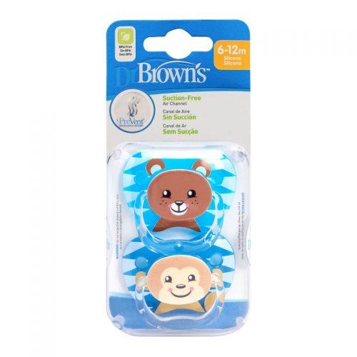 Smoczki uspokajające Dr Browns Prevent zwierzak 6-12m Boy 2szt