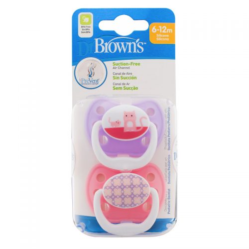 Dr Browns smoczek prevent classic 6-12 miesięcy 2 szt kolorystyka dla dziwczynki