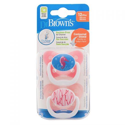 Dr Browns smoczek prevent motyl 12+miesięcy różowy 2 pak