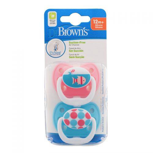 Dr Browns smoczek prevent classic 12+miesięcy 2 szt kolorystyka dla dziewczynki