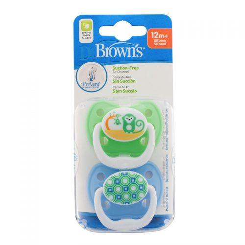 Dr Browns smoczek prevent classic 12+miesięcy 2 pak kolorystyka dla chłopca