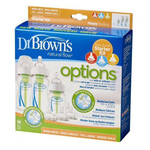 """Dr Browns zestaw startowy szeroka szyjka options """"mały"""" (zawiera 2*270ml i 1*150ml, 2*smoczek poziom 2, 2*smoczek poziom 3, 2*szczoteczka )"""