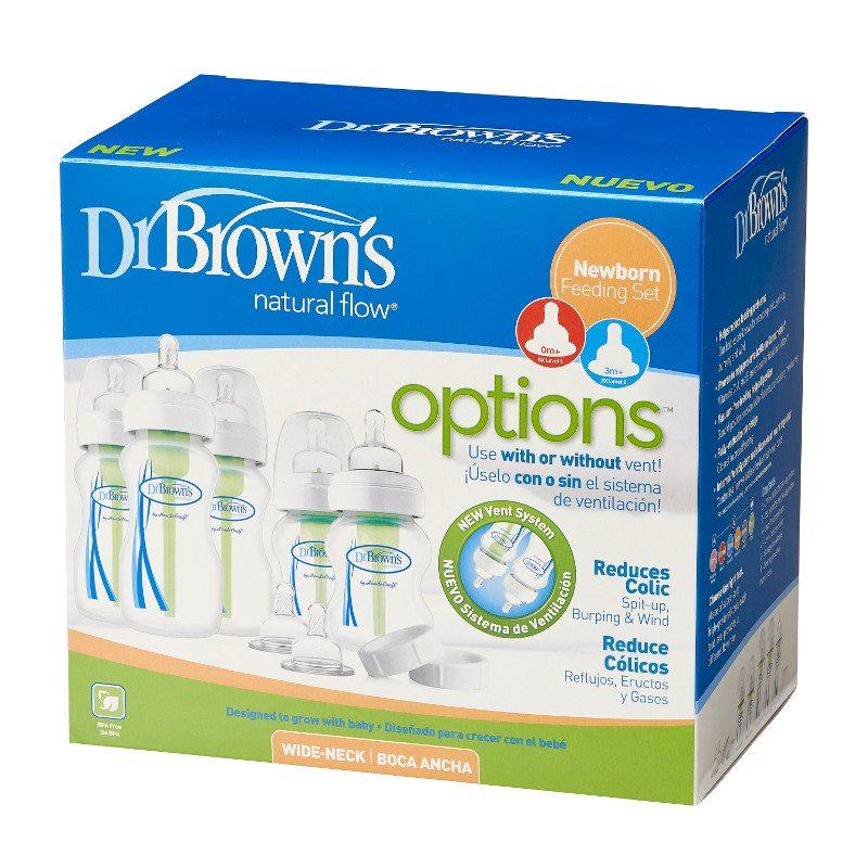 """Dr Browns zestaw startowy szeroka szyjka options """"duży"""" (zawiera 2*150ml i 3*270ml, 2*smoczek poziom 2, 2*nakrętki na czas podróży i 3*szczoteczki)"""
