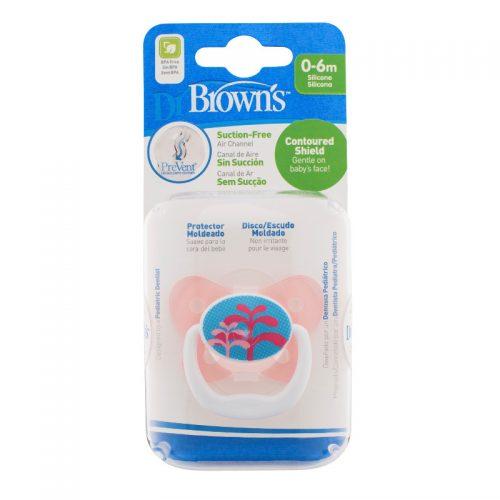 Dr Browns smoczek prevent motyl 0-6miesięcy różowy 1 szt fontanna