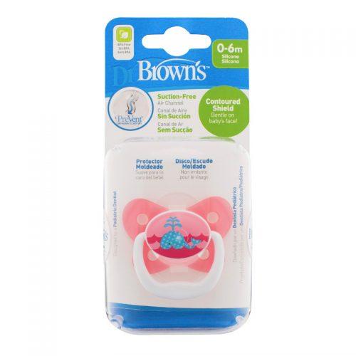 Dr Browns smoczek prevent motyl 0-6miesięcy różowy 1 szt wieloryb