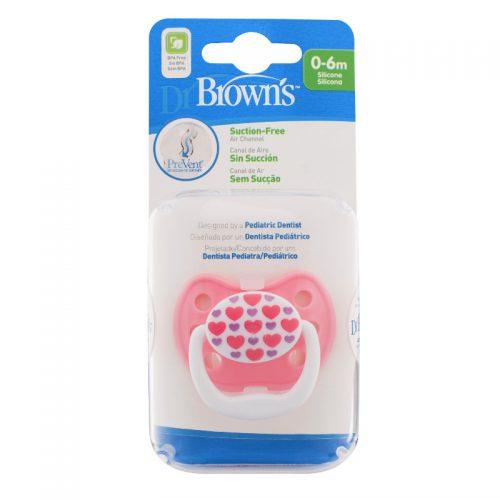 Dr Browns smoczek prevent classic 0-6 miesięcy 1 szt kolorystyka dla serduszka
