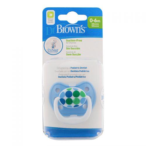 Dr Browns smoczek prevent classic 0-6 miesięcy kolorystyka dla chłopca 1 szt. niebieskie kółka