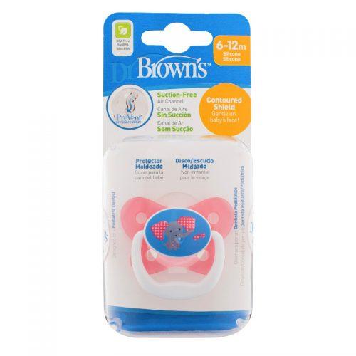 Dr Browns smoczek prevent motyl 6-12 miesięcy różowy 1 szt. słonik