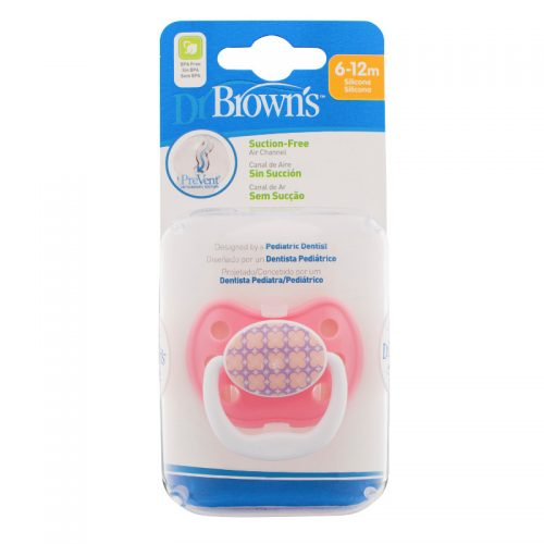 Dr Browns smoczek prevent classic 6-12 miesięcy 1 szt  kolorystyka dla dziwczynki kończynka